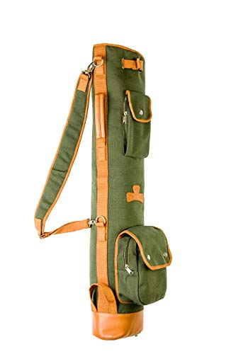 Thorza Sunday Golf Bag for Men and Women Vintage Canvas and Leather Stores Balls Tees and Clubs for 18 Holes Zippered Pockets Lightweight with Carry Handle and Shoulder Strap