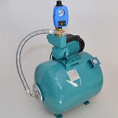 Huiswaterpomp 80 L met manometer pomp WZ750 750 750 Watt debiet: 2880 l/h geïntegreerde thermische motorbeveiligingsschakelaar + pompregeling met droogloopbeveiliging + terugslagklep.