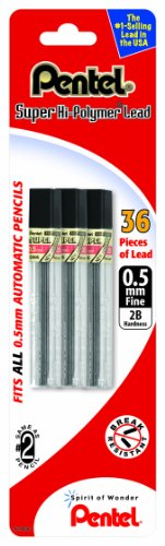 Pentel Super Hi-Polymer Lead Refill 0.5mm Fine, 2B, 36 Pieces of Lead (C505BP32B-K6)