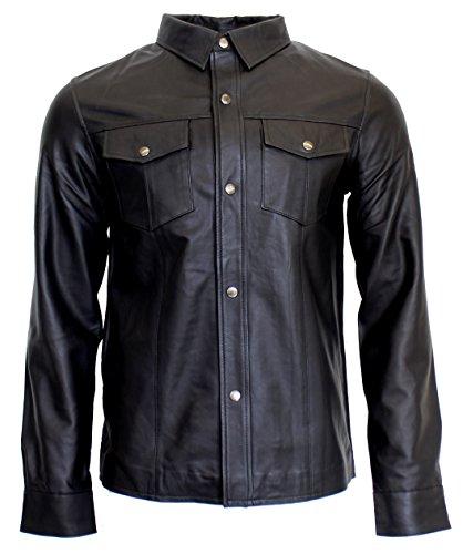 RICANO Mens Shirt, Herren Lederhemd, Lamm Nappa Echtleder (schwarz) (S)