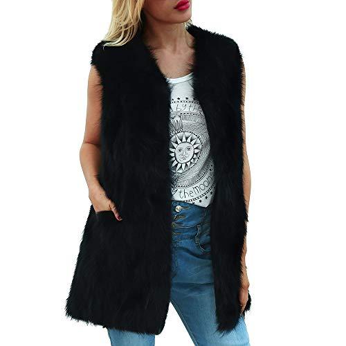 VEMOW Winter Herbst Elegante Damen Frauen Warme Faux Pelzmantel Jacke Farbverlauf Casual Täglichen Party Parka Oberbekleidung(X6-b-Schwarz, 36 DE/M CN)