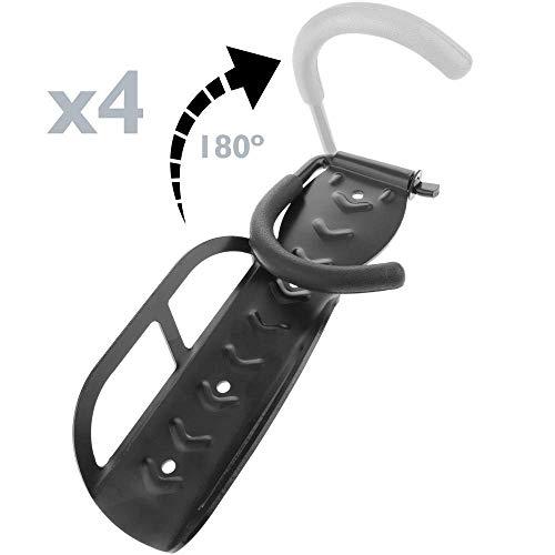 PrimeMatik - Gancho de Pared Ajustable para Colgar Bicicleta por la Rueda 4 Unidades
