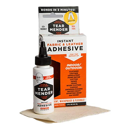 Tear Mender Instant Fabric & Leather Adhesive Kit with Patch for Jeans, 2 oz Bottle, TM-3