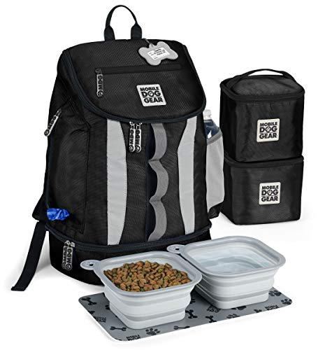Mobile Dog Gear, Dog Travel Bag, Drop Bottom Week Away Backpack for Medium and Large Dogs, Includes 2 Lined Food Carriers and 2 Collapsible Dog Bowls, Black