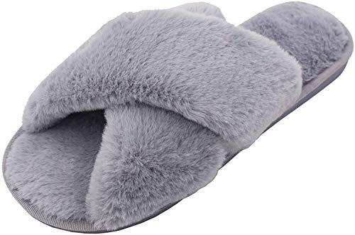 AONEGOLD Hausschuhe Damen Winter Warm Plüsche Pantoffeln rutschfeste Flache Flip Flop Slippers Indoor/Outdoor(Grau,38/39 EU)