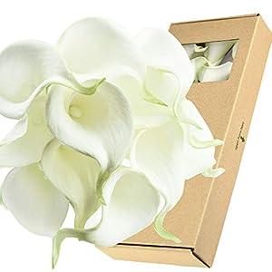 FiveSeasonStuff Real Touch Calla Lily Artificial Flowers Wedding Bridal Bouquet | Floral Arrangements | 15 Calla Lilies (Summer White)