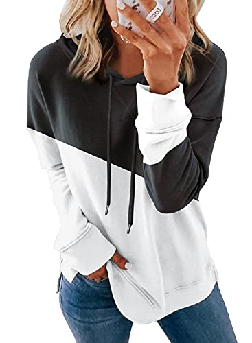 SHEWIN Womens Casual Fall Hoodies Long Sleeve Drawstring Color Block Oversized Sweatshirts Pullover Tops for Women,US 16-18(XL),Black,White