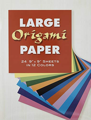 """Large Origami Paper: 24 9"""" x 9"""" Sheets in 12 Colours (Dover Origami Papercraft)"""