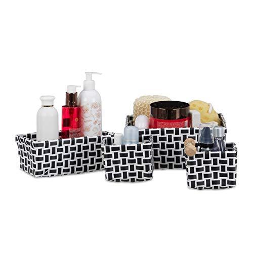 Relaxdays, weiß-schwarz Aufbewahrungskorb 4er Set, Körbchen 3 Größen, geflochten, Korb Badezimmer, Dekokorb Kunststoff, (PP), 22 x 22 x 10 cm