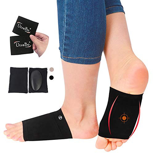 Arch Support Brace for Flat Feet with Gel Pad Inside 2Pairs Plantar Fasciitis Support Brace-Compression Arch Sleeves for Women & Men-Foot Pain Relief for Planter Fasciitis (2*Complexion+2*Black)