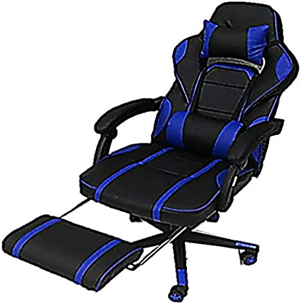 AE Gaming Chair, Executive Computer Chair High-back Ergonomic Desk Chair Racing Chair, Leather Office Chair Including Headrest and Lumbar Support (Blue/Black)