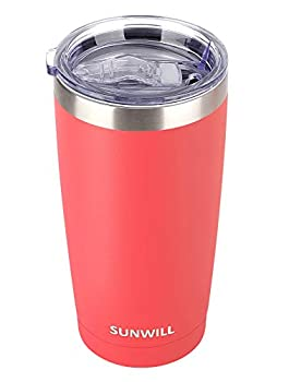 SUNWILL 20oz Tumbler with Lid Stainless Steel Vacuum Insulated Double Wall Travel Tumbler Durable Insulated Coffee Mug Powder Coated Coral Thermal Cup with Splash Proof Sliding Lid