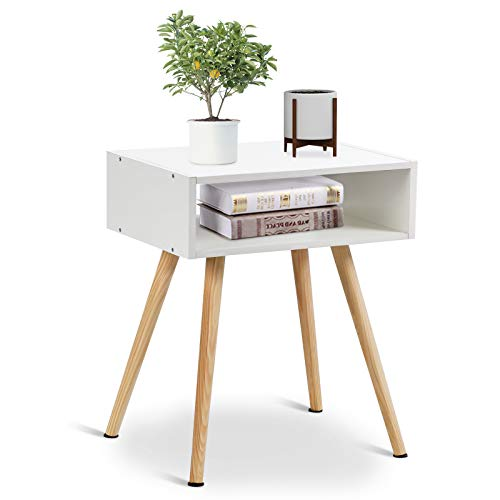 COSTWAY Nachttisch Nachtschrank mit 4 Beien, Beistellschrank Beistelltisch Holz, Nachtkommode weiß, Flurkommode Flurtisch Ablagetisch Telefontisch für Schlafzimmer Wohnzimmer, 54x40x30cm