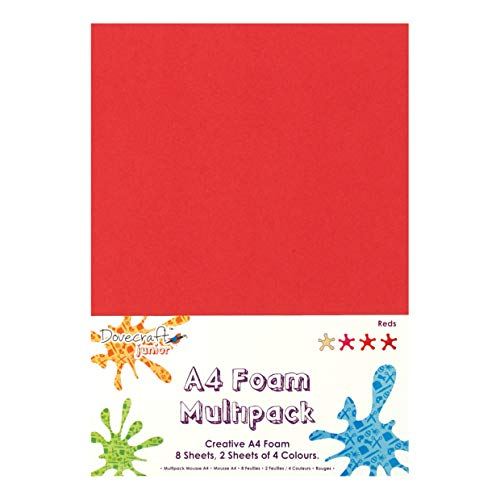 Dovecraft Lot de 8 Feuilles de Mousse Rouge A4