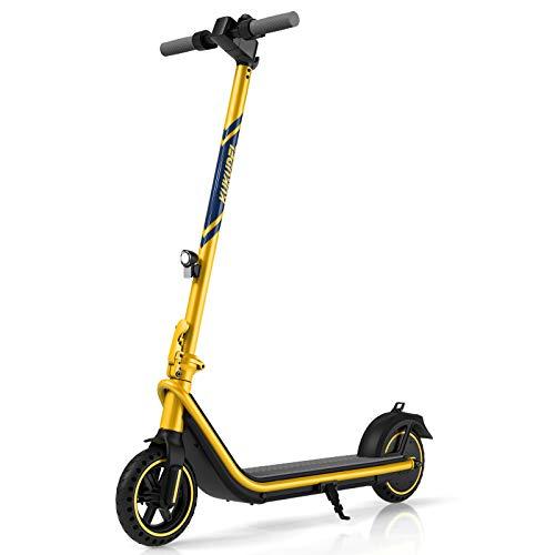 Scooter Eléctrico Plegable KUKUDEL, Scooter Eléctrico para Adultos con Batería de 7.5 Ah y Scooter de 380W Motor, Pantalla LCD Multifuncional, Velocidad Máxima de 25 Km/h y Alcance de 30 Km (Amarillo)