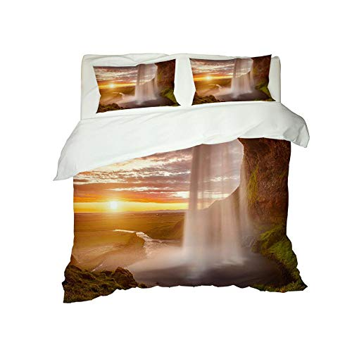 CJZYY 3D Duvet Cover Sunset landscape Printed Bedding Duvet Cover with Zipper Closure,3 Pieces (1 Duvet Cover +2 Pillowcases) Ultra Soft Microfiber Bedding -Super King 220 X 260 cm