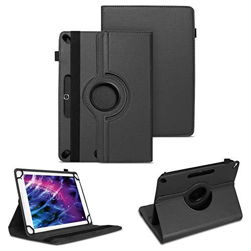 NAUC Tablet Hülle für Medion Lifetab P10612 P10610 P10603 P10602 X10605 X10607 Tasche Schwarz Schutz Hülle Cover 360° Drehbar