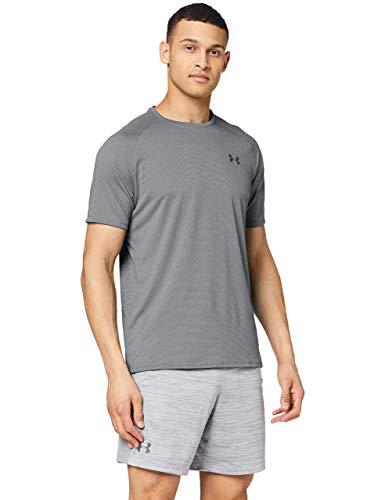 Under Armour UA Tech 2.0 SS Tee Novelty, camiseta para gimnasio, camiseta transpirable hombre, Gris (Pitch Gray/Black (012)), L