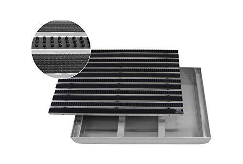 EMCO Eingangsmatte DIPLOMAT Bürsten + Gummi mit ALU Bodenwanne Fußmatte Schuhabstreifer Schmutzmatte, Größe:1000 x 500 mm