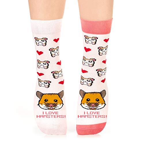 Petsy Lustige Socken für Damen und Herren - Baumwolle Bunt Motivsocken mit Spruch - Perfekt Verrückte Geschenke Mehrfarbig,I Love Hamsters,35-38