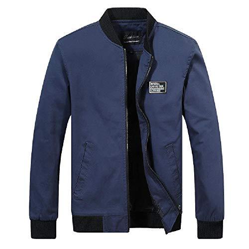 NOBRAND - Abrigo para hombre, coreano, delgado, para primavera y otoño, delgado, informal, para hombre, joven, versátil Azul azul marino M