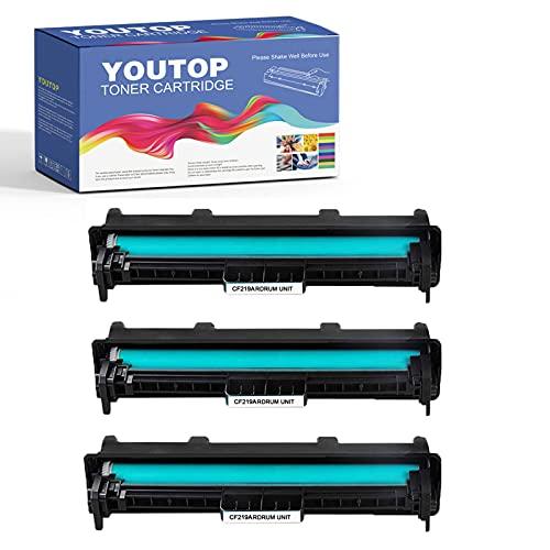 YouTop 3 tambores 19A CF219A para impresoras HP Laserjet Pro M102a M102w, MFP M130fn M130fw M130nw M130a (12.000 páginas)