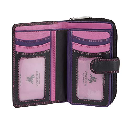 Visconti Bifold Leder Damen Geldbörse Colorado Combination Leather mehrfarbig Purse (CD-22) RFID, Schwarz/Beeren, Large