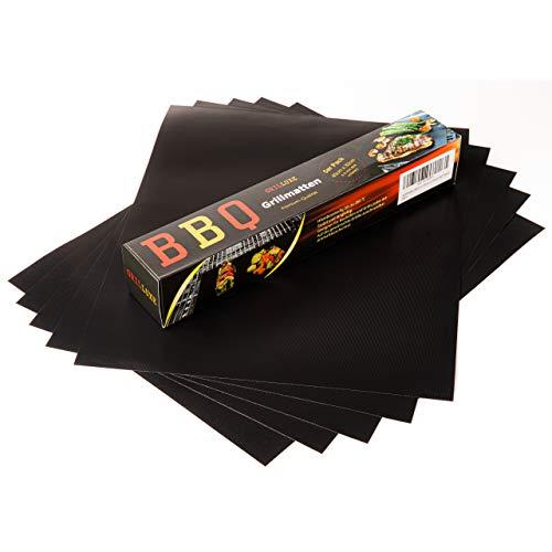 Grilluxe® Grillmatte   Normale Größe   40cm x 33cm [5er Pack 40x33]   0.3mm dick   BBQ Grillmatten   Antihafte Grill- und Backmatte   Für Gasgrill Holzkohlegrill Elektrogrill   Wiederverwendbar