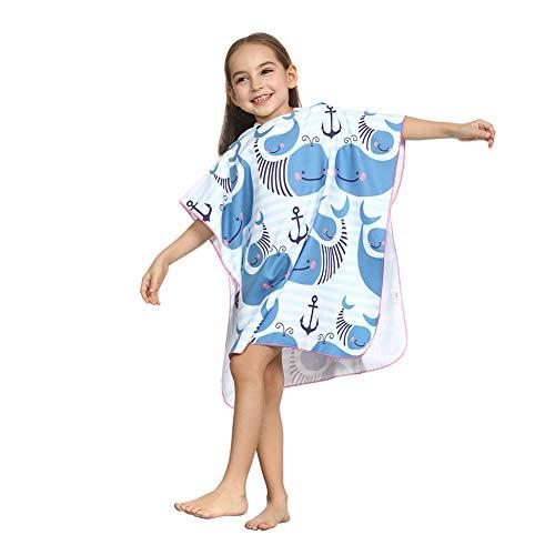 ED-Lumos Toalla de baño con Capucha para niño niña Poncho Playa Infantil Microfibra Albornoz 4-7 años Ballena Azul