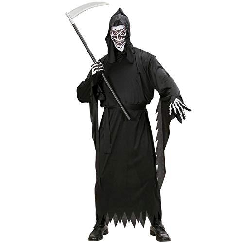 NET TOYS Gruseliges Geister-Kostüm Spuk-Gespenst für Erwachsene - Schwarz L (52) - Unheimliche Herren-Verkleidung Sensenmann - Perfekt geeignet für Halloween & Horror-Party