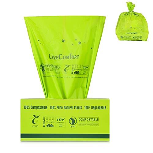 Lirex Bolsas de basura 100% compostables, 2.6 Gallon, con certificación US BPI...
