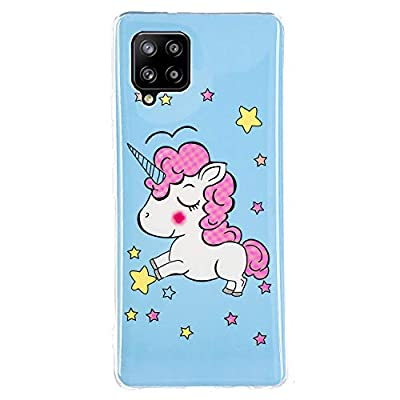 Casecool Funda Compatible con Samsung Galaxy A42 5G, Carcasa Luminoso de Silicona Suave TPU Gel Diseño Dibujos Animados Noctilucent Ultra Fina Anti-Scratch Fluorescente Funda, Unicornio