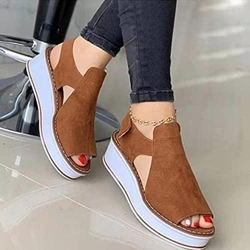 Sandalen Flip Flops Mode Flache,Fischmaulsandalen, dickbesohlter Klettverschluss und große Damenschuhe-Brown_42