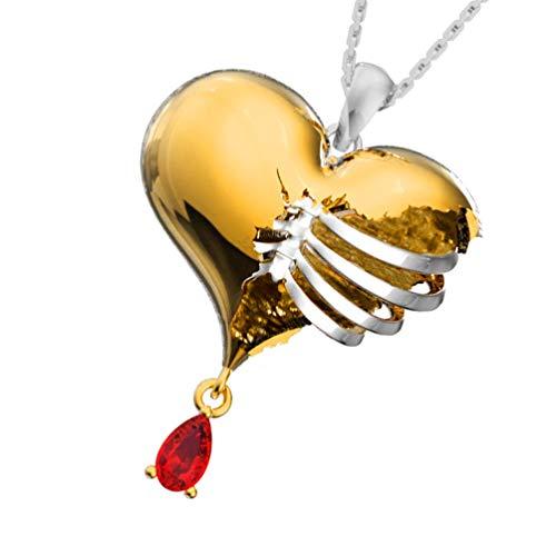 Holibanna Love Heart Necklace Alloy Ribcage Bleeding Heart Pendant Necklace Retro Punk Rock Neck Link Chain Jewelry Gift for Men Women Valentine