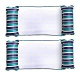 Aqua LEISURE Deluxe Monterey XL Hammock 4 in 1 Multi Purpose (Saddle, Lounge Chair, Hammock, Drifter) Inflatable Pool Float, Teal/Blue (2 Pack)