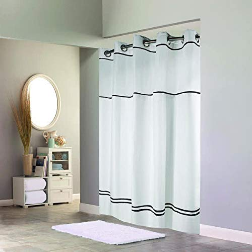 Hookless Monterey Hotel Quality Shower Curtain with Snap in Liner - White with Black Stripe, 71 in. X 77 in.