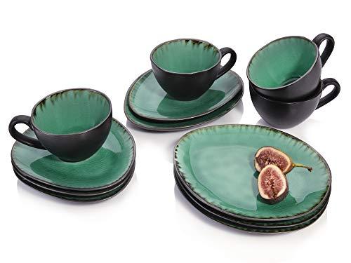 Sänger Kaffeeservice Palm Beach aus Porzellan 12 teilig | Füllmenge der Tassen 300 ml | Tafelservice mit Reisslack Effekt bestehend aus Tassen, ovalen Untertassen und Desserttellern in Vintage Optik