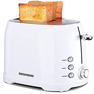 """REDMOND Toaster 2 Slice, Retro Bagel Toaster Stainless Steel Compact with 1.5""""Extra Wide Slots and 7 Bread Shade Settings for Breakfast, 800W, ST032 (White)"""