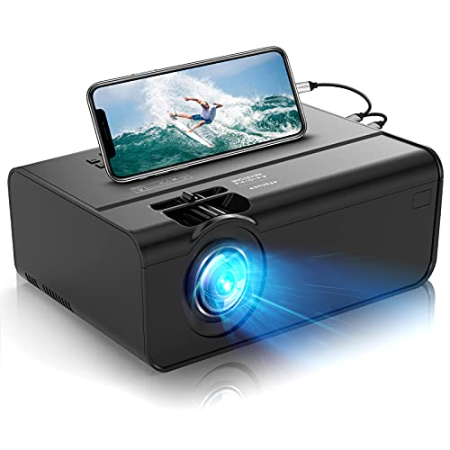 Mini Projector for iPhone, Uyole Video Projector [Carry Case Included] for Outdoor Movies, 4500L, 1080P and 200'' Display Supported, Compatible with TV Stick, PS4, HDMI, TF, AV, USB, iPhone, Laptop