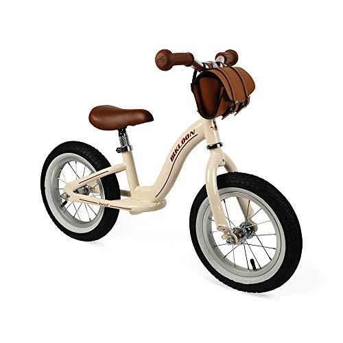 Janod - J03294 - Bicicleta de equilibrio metálica y estilo retro con sillín ajustable, neumáticos inflables y bolso incluido, color beis, para aprendizaje de equilibrio, para niños a partir de 3 años