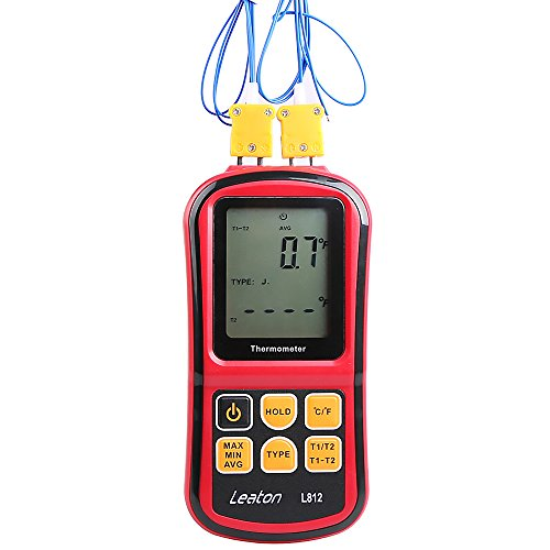 Price comparison product image Leaton Digital Thermocouple Thermometer Dual-channel LCD Backlight Temperature Meter Tester for K / J / T / E / R / S / N Great (Batteries included)