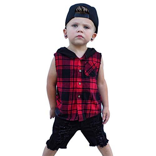 Makalon Sommer Kleinkind Jungen T-Shirt Baby Karikatur Tops Kinder Jungs Freizeit Cartoon Einfarbig Shirt Baumwolle Hemd Kurzarm Hülsen Tierdruck T-Stücke Outfits Plaid Hoodie Trainingsanzug