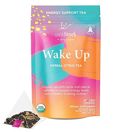Pink Stork Wake Up Tea: Herbal Citrus, Refreshing and Energizing, Organic Black Tea with Natural Caffeine, Herbal Tea, Ashwagandha, Red Raspberry Leaf, Vitamin C, Orange Peel, Woman-Owned, 30 Cups