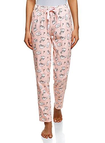 oodji Ultra Damen Bedruckte Schlafanzughose für Zuhause, Rosa, DE 38 / EU 40 / M