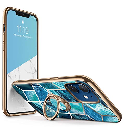 i-Blason Cosmo Snap Case Designed for iPhone 12/iPhone 12 Pro 6.1 Inch (2020 Release), Slim with Built-in 360° Rotatable Ring Holder Kickstand Supports Car Mount (Ocean)
