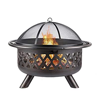 Fire Pit with BBQ Grill Shelf, Fire Bowl with Spark Protection Mesh Charcoal Barbecues Grill Garden Patio Heater for Outdoor Party BBQ Camping Picnics from GKTF
