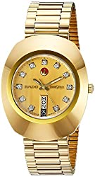 Rado Men's DiaStar Original Stainless Steel Swiss Automatic Watch with Gold-Plated-Stainless-Steel Strap, 18 (Model: R12413493)