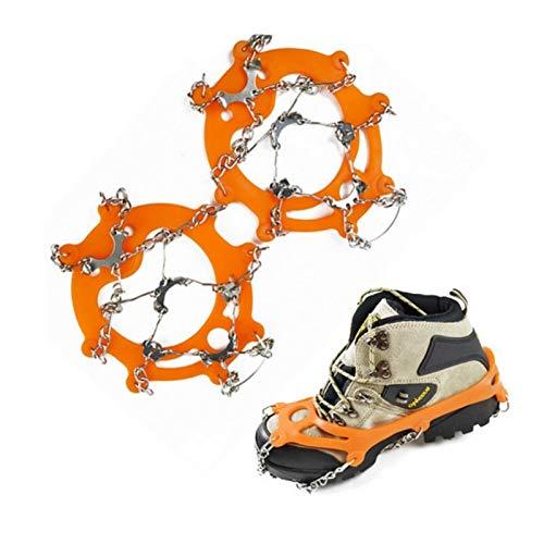 TWWSA Dentado Robusto Alpinismo al Aire Libre Senderismo Antideslizante Hielo Snow Shoe Shoe Spikes Crampones Skid a Prueba de Skid Super elástico (Color : Orange)