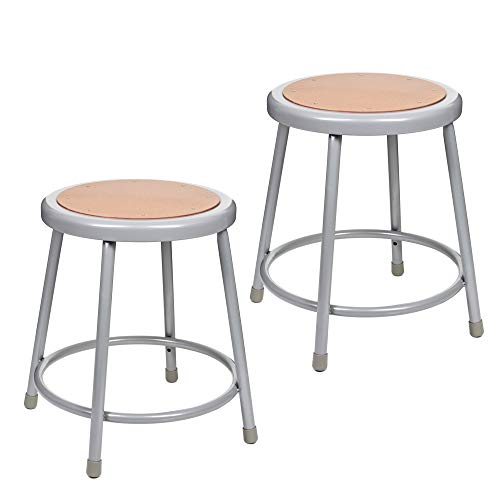 """(2 Pack) OEF Furnishings Grey Shop Stool, 18"""", No Assembly Required"""