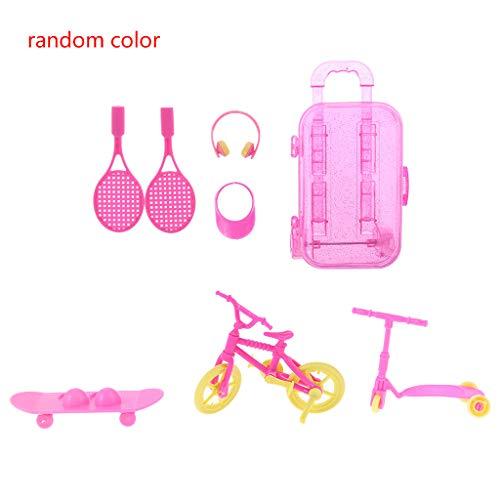 DALIN 7-teiliges Trolley-Koffer-Set für Tennisschläger, Kopfhörer, Sonnenhut, Roller, Skateboard, Fahrrad, Miniaturen, Puppenhaus-Zubehör
